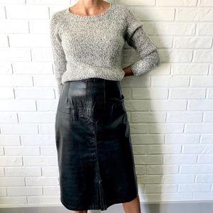 Vintage 80s black leather midi pencil a line skirt